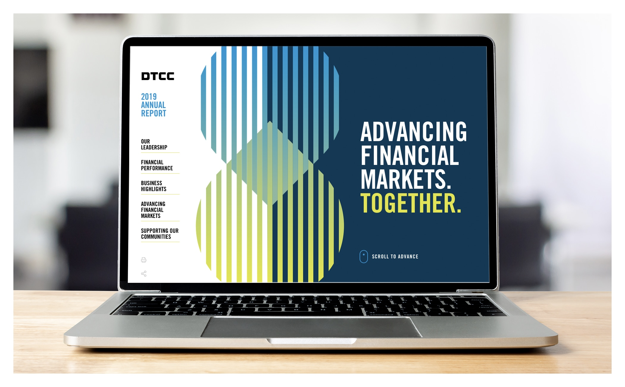 Image of the 2019 DTCC Annual Report on a laptop screen