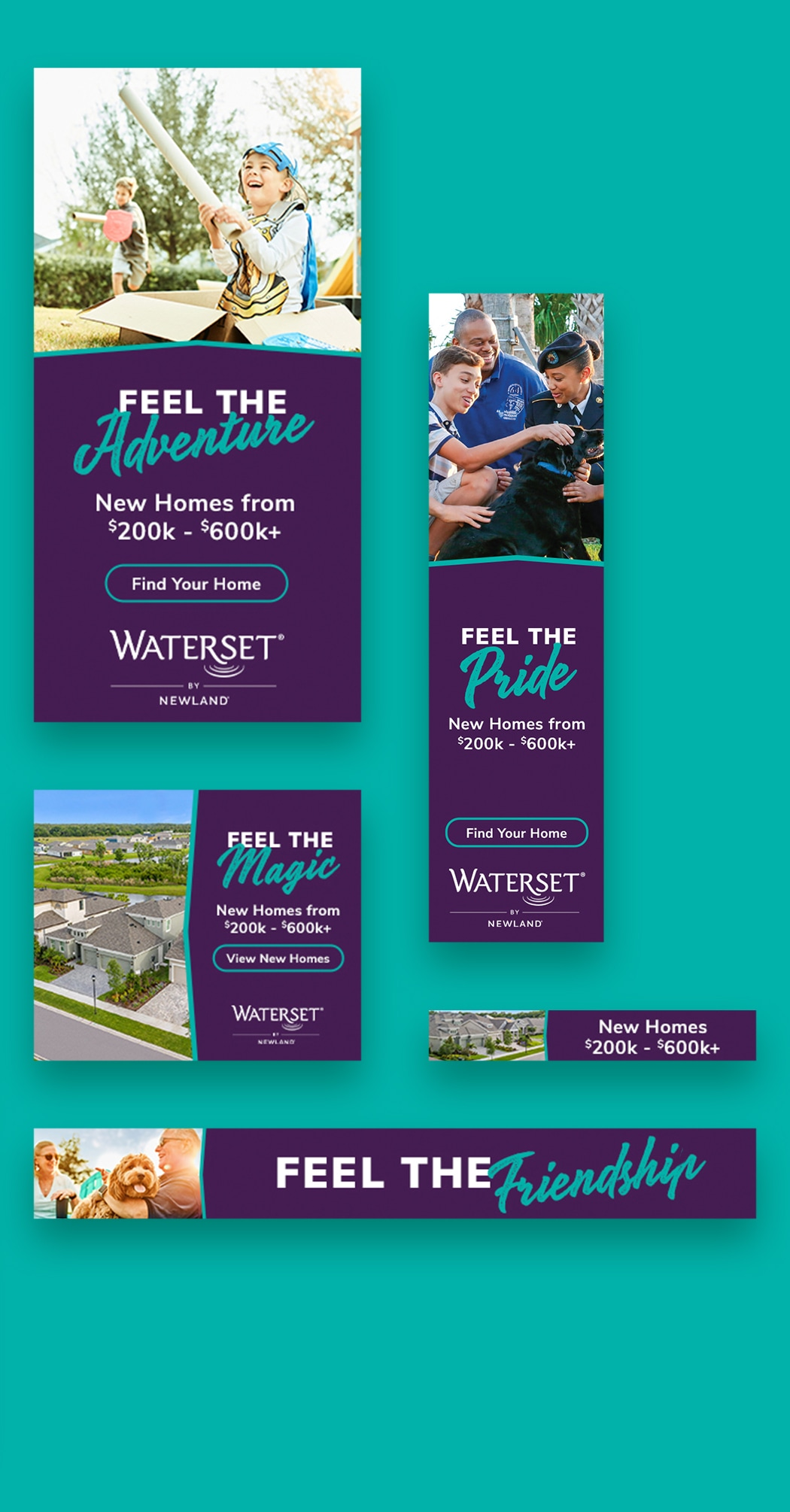 Collage of various Waterset Digital Display ads