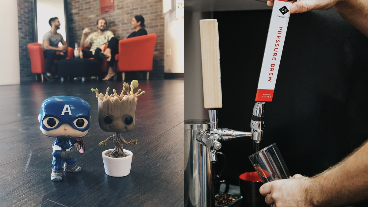 Photo of Captain America and Groot in ChappellRoberts Lobby, Photo of Nitro tap at ChappellRoberts