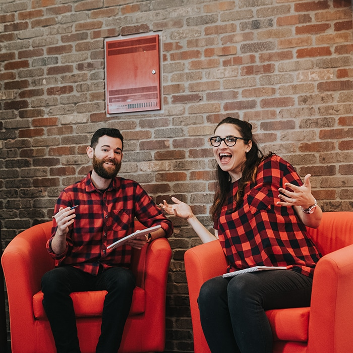 Photo of Tommy and Laura twinning in flannel