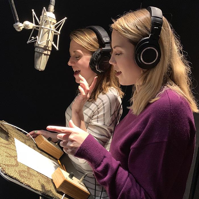 Lauren and Megan in the soundbooth