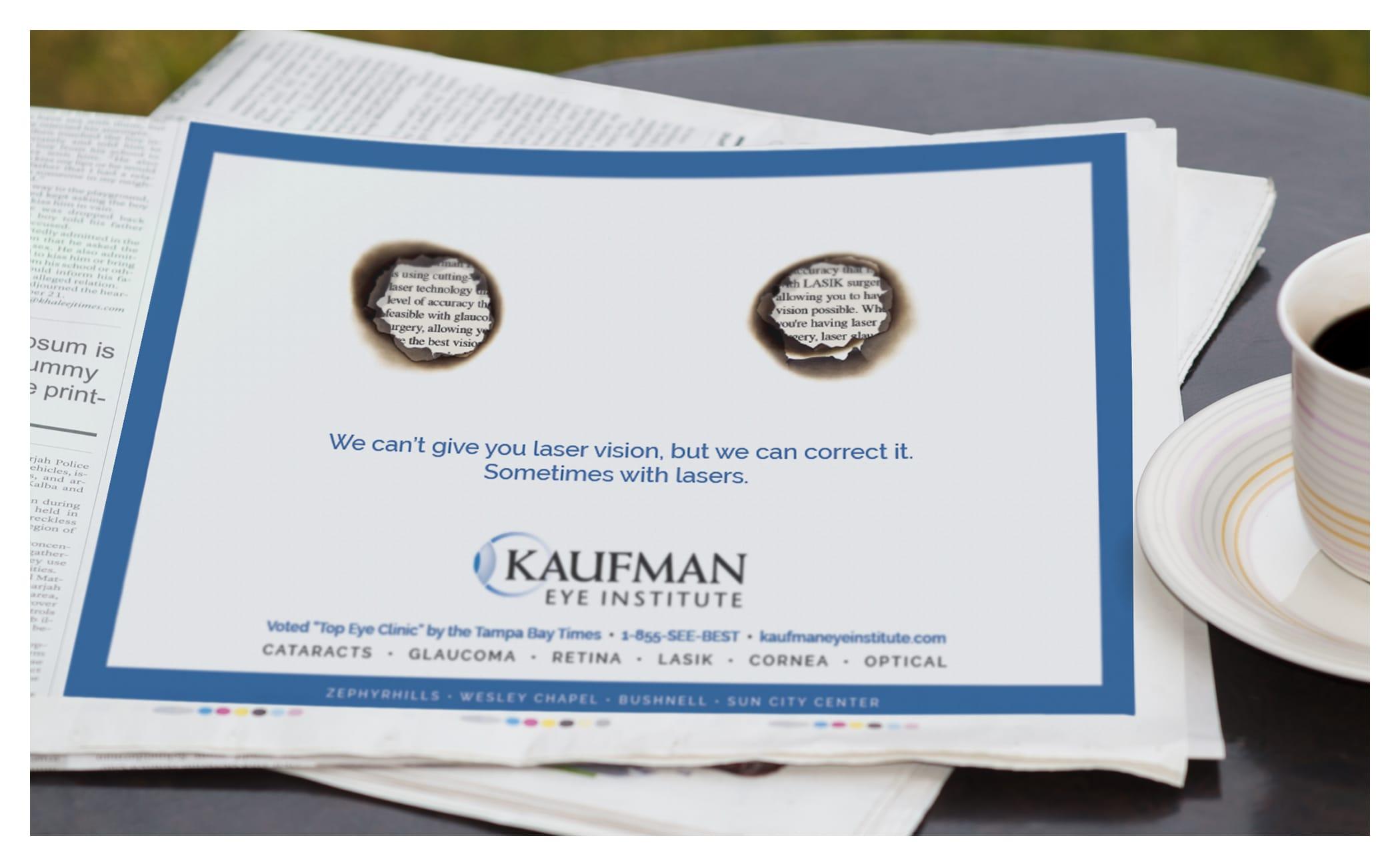 Photo of Kaufman Eye Institute newspaper ad
