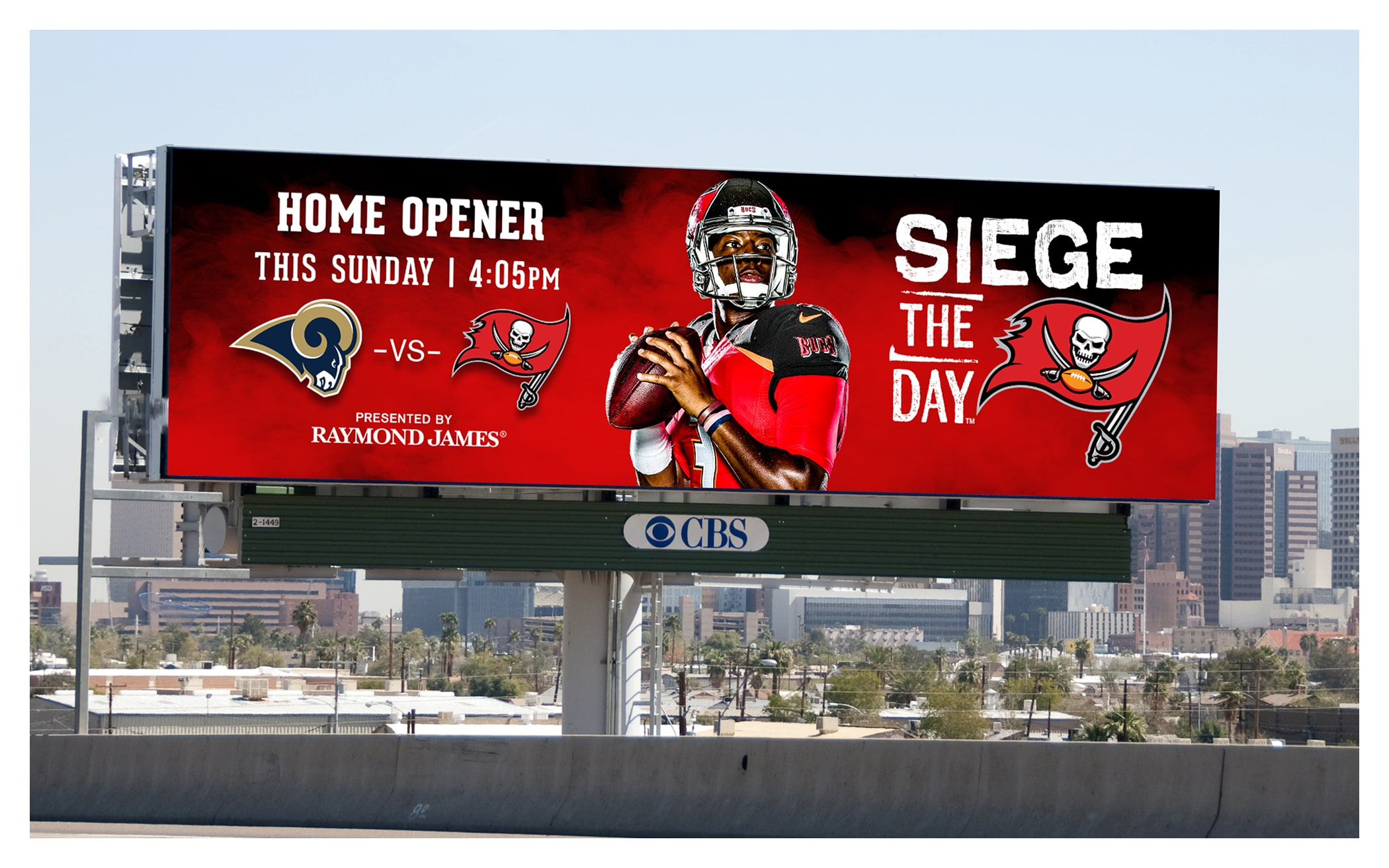 Photo of Siege the Day billboard for Rams vs. Bucs game