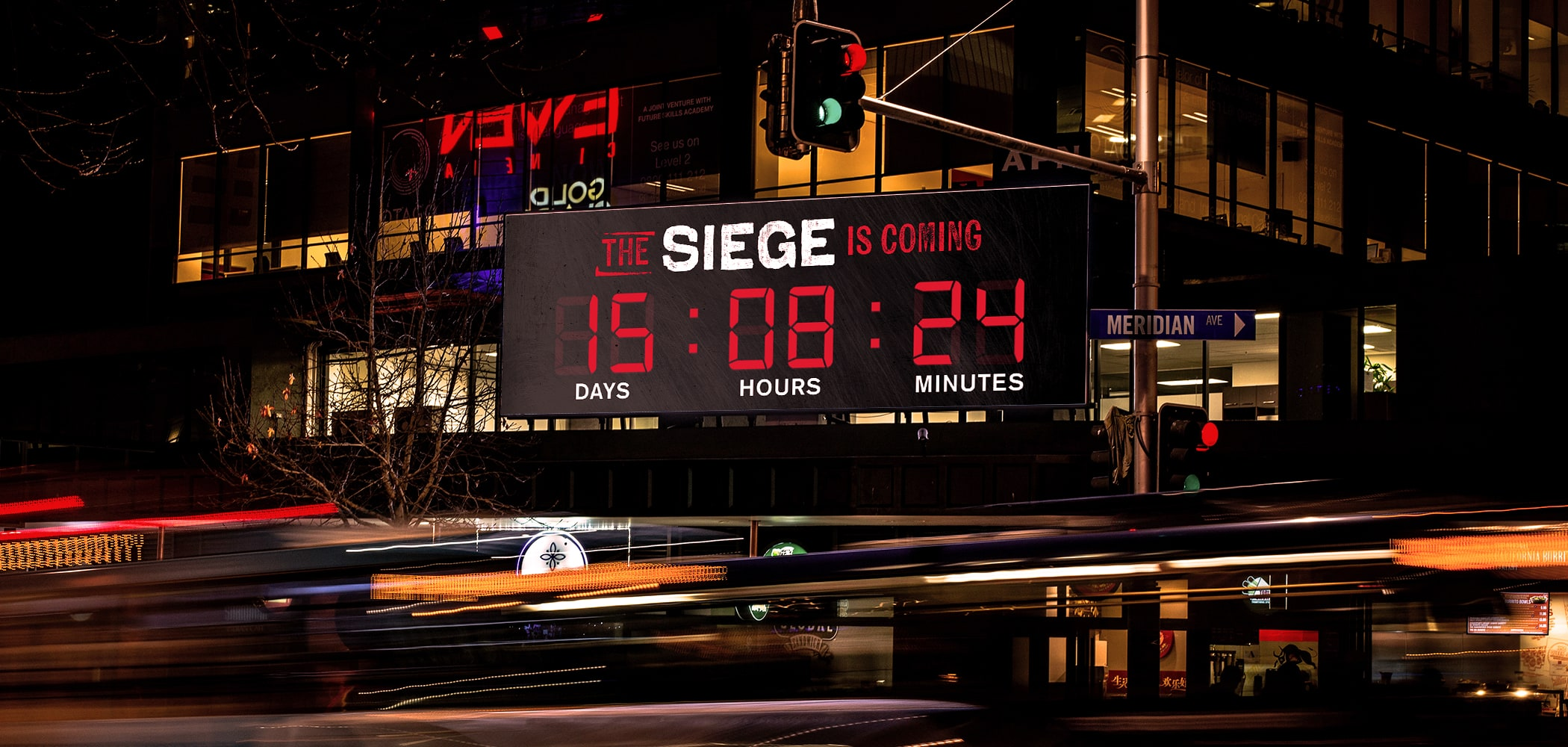 Photo of countdown timer on outdoor board - The Siege is Coming