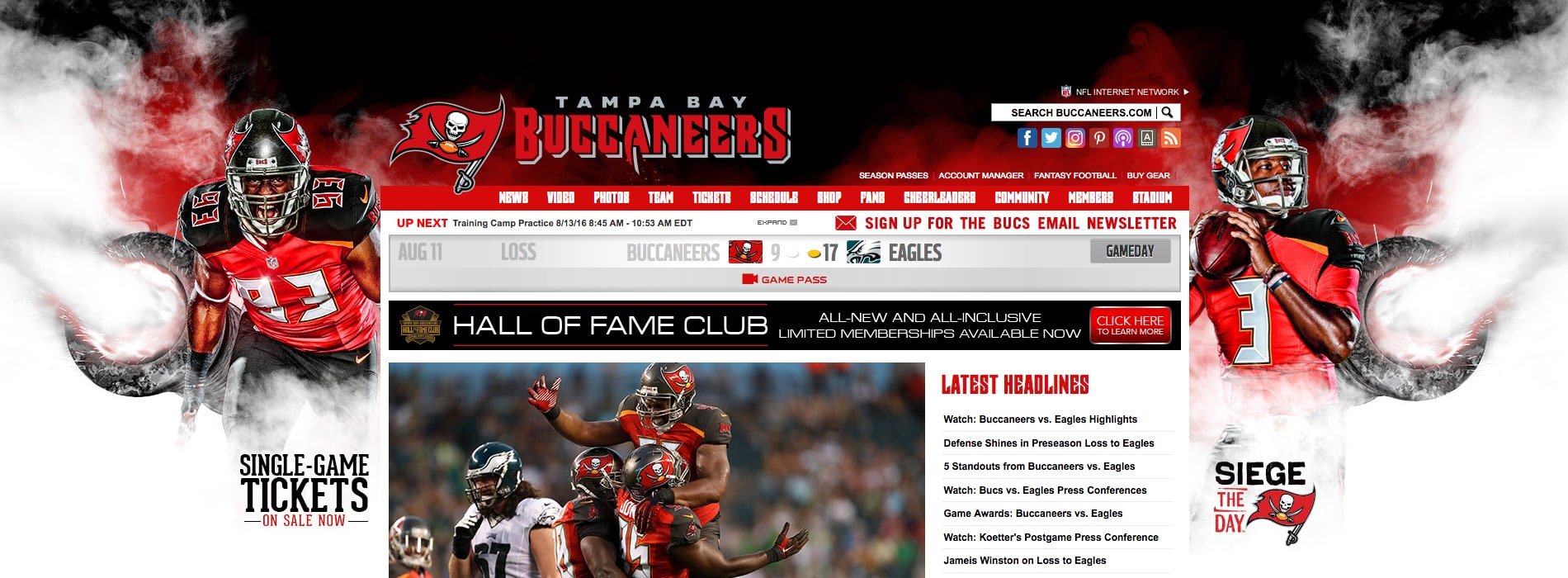 Image of Tampa Bay Buccaneers website with Siege the Day artwork