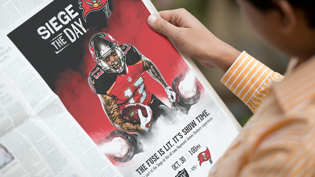 Print ad featured in the Siege the Day campaign for Tampa Bay Buccaneers