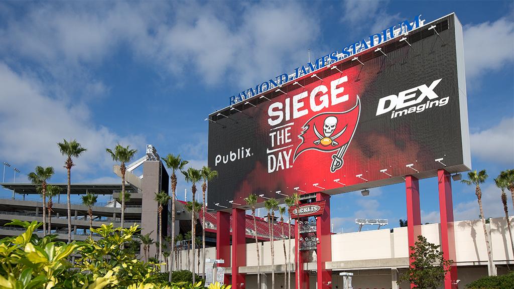 Siege the Day billboard featured at Raymond James Stadium