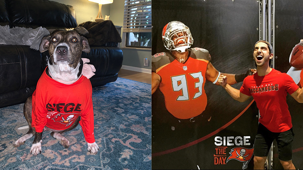A ChapellRoberts dog and employee each show their Bucs pride