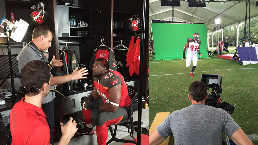 Behind the scenes at the Tampa Bay Buccaneers Siege the Day ad campaign photoshoot